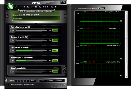 Программа для разгона видеокарты MSI Afterburner 2.3.1